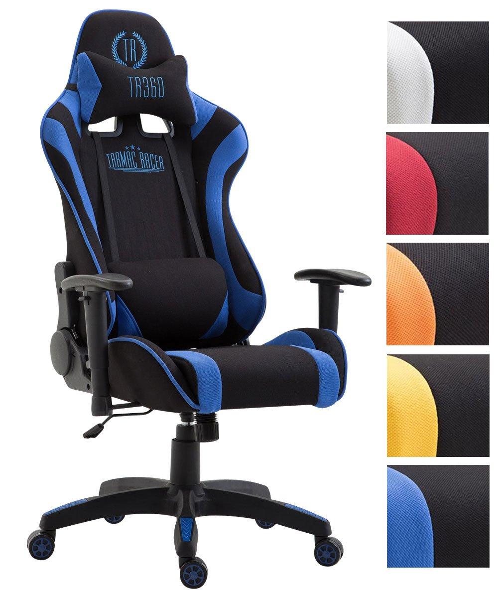 CLP Silla de Oficina JARAMA con tapizado de Tela – Silla Gaming con Mecanismo de Balanceo – Sillón de Oficina con Cojín para Cuello y Cojín Lumbar – Color: