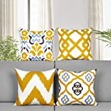 Alishomtll Set of 4 Decorative Cushion Covers Yellow Geometric Pillow Cases 18 x 18 Inch Modern Throw Pillow Covers Cushion C