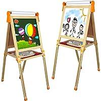 Tableau Enfant Magnetique Jouet Bois- 3 en 1 Multifonctions Double Face Tableau Noir et Blanc avec Papier en Rouleau et…