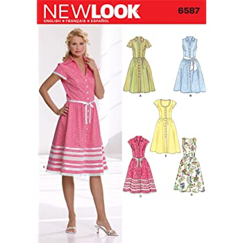 4f1b63abfbd39 New Look 6587 Size A Misses  Dresses Sewing Pattern