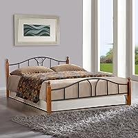 FurnitureKraft Toronto Queen Size Metal Bed (Glossy Finish, Multicolour)
