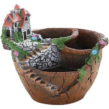 B Blesiya Kreative Baumwurzel Mikro Landschaft Sukkulente Topflappen Gartengestaltung mit Kleinen Abflussl/öchern im Boden