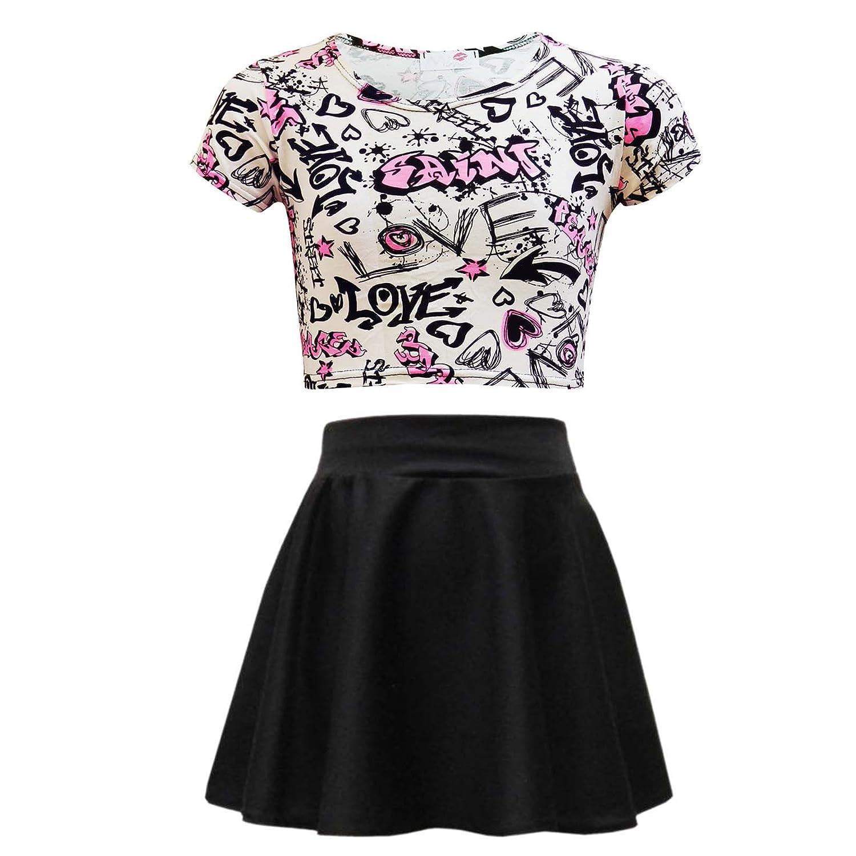 Kids Girls Love Graffiti Scribble Print Crop Top & Black Skater ...
