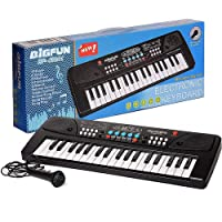 Jay Stationary 37 Key Electronic Piano Keyboard Toy with DC Power Option, Recording and Microphone (New Piano-1)