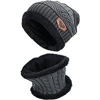 Runfon Cappello e Sciarpa Set, Uomo e Donna Warm Hat a Maglia e Sciarpa di Lana, 2 Pezzi - Grigio (Grigio)