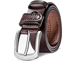 Hzhy Men's Leather Belt,100% Full Grain Leather with Anti-Scratch Pin Buckle,Great for Jeans,Casual,Cowboy & Work Wear