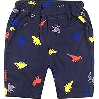 De feuilles Pantalon Short Bébé Garçon Enfant Bermudas Motif Imprimé avec Poches Latérales et Bande élastique