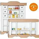 Polly Kinder Kaufmannsladen aus Karton inkl. 20 Miniaturen | Kaufladen mit Zubehör Set und Theke | Mit Spielzeug Lebensmittel