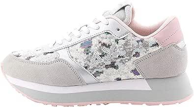 SUN68 Sneakers Donna Z30216 Grigio Chiaro Paillettes
