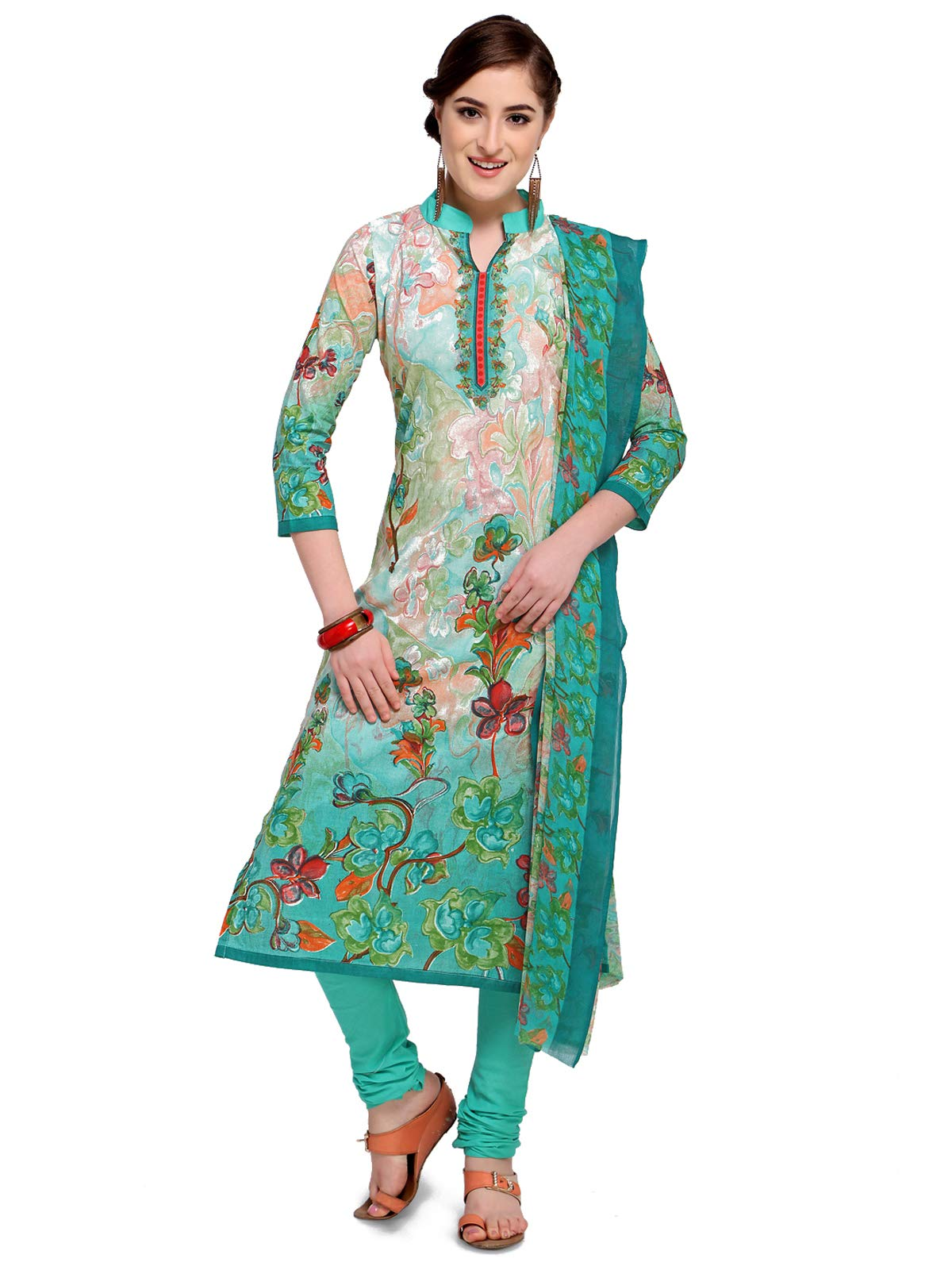 Kanchnar Women's Cotton Green and CreamSalwar Suit