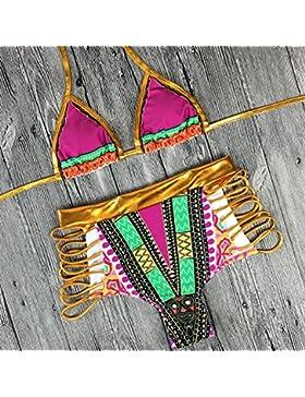 Conjuntos de Bikini Sexy traje de baño Trajes de Baño Fashion Fashion-Split adelgazantes, Serie roja L