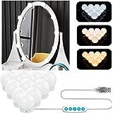 Aourow Luces de Espejo Maquillaje,Diseño de Cable USB Luz de Tocador LED con Interruptor y 10 Bombillas Regulables,5 Modos de
