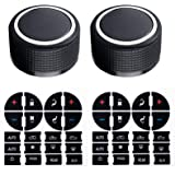 Gekufa Rear Radio Knobs (2 Packs) with AC Dash Button Stickers (2 Packs) Compatible with 2007-2013 Chevy Tahoe Chev-rolet Sil