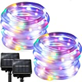Chipark Solar String Lights Outdoor Rope Lights, 2 Pack 100 LED 8 Modes Waterproof Tube Light Copper Wire Fairy Lights…