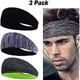 Linlook Sport Stirnband für Herren und Damen - Schweißband Anti Rutsch für Jogging, Laufen, Wandern, Fahrrad- und Motorrad Fahren 3 Pack…