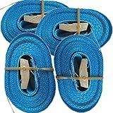 Timtina 4 spanriemen sjorbanden met klemslot snelspanning 6m 250 Kg 25mm breite blauw