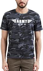 WYO Men's Camouflage Army Military Half Sleeve Printed Round Neck T-Shirt (3 Star Army)