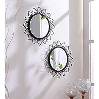 Hosley Decorative Round Iron Wall Mirror (20.32 cm x 30.48 cm, Black, Set of 2)