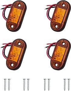 Autoutlet 4x Seitenleuchten 4 Led Seitenmarkierungsleuchten Lampen Universal Positionslicht 12v 24v Für Lkw Anhänger Van Caravan Lkw Auto Bus Erfüllen Dot E11 Standard Gelben Glühbirnen Auto
