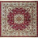 Deco Italia Tappeto Quadrato Classico con Motivi Floreali su Sfondo Rosso - Fibressa Red | 185 x 185 cm
