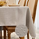 BALCONY & FALCON Mantel Rectangular Mantel Antimanchas para Cocina Mantel Impermeable para Mesa Cafetería (Gris Crema, 140*18