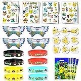 Pokemon-thema Verjaardagsfeestje voor kinderen - Polsbandjes, tatoeages, cadeautjes voor cadeautjes, insignes, maskers voor b