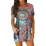 Yookeor Damen Oberteile Basic T-Shirt Tops V-Ausschnitt Solide Kurzarm Tops