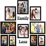 """Amazon Brand - Solimo Synthetic Black Photo Frames Set of 10 with Two plaque """" Family"""" & """"Love"""""""