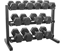 Prosportsae Hex Dumbbell Set with Dumbbell Rack – Strength Training Equipment – Fitness Weights – Tough and Durable, Cast Iro