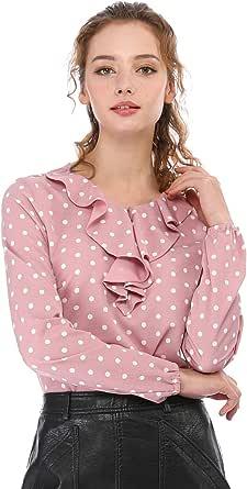 Allegra K Donna Arruffare Collo Manica Lunga Vintage A Pois Tuniche Camicetta Shirt