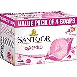 Santoor RoseGlo Soap with Rose Water & Honey, 125g (Pack of 4)