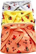 Cloudaby Padded Muslin Cotton Nappies, Printed, Multicolor (0-3 Months) (Pack of 3)