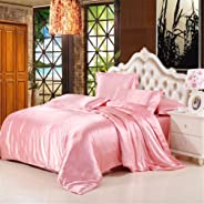 Satin Duvet Cover Set, Silk Bedding Sets Soft Cool Breathable Comfort Solid Color Luxury Smooth Silky Quilt Covers Bed Fitte