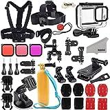 Kupton Tillbehörssats för GoPro Hero 8 svart tillbehörsset, vattentätt hölje + filter + huvud bröstrem + sugkoppsfäste + cyke