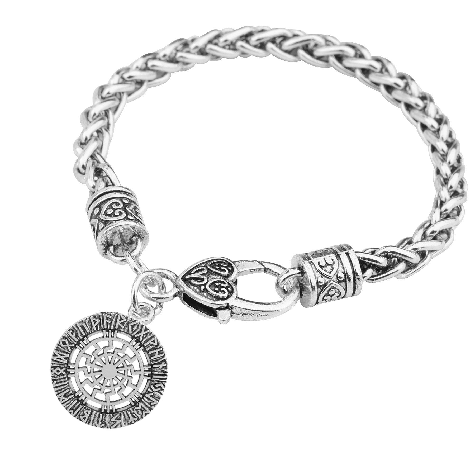 TEAMER Slavic Sun Wheel Pendant Viking Runes Jewelry Valkyrie Vintage Bracelets Charm Bracelets