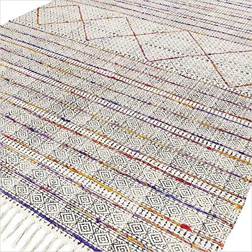 Eyes of India - Baumwolle Block Druckfläche Akzent Übertrocknet Dhurrie Teppich Hand Geflochten Flach zu Weben Boho Chic Indische Böhmisch - Multi, 4 X 6 ft. (120 X 180 cm)