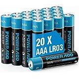 AAA Pilas Alcalinas LR03 Baterías de 10 Años Larga Duración para Linternas, Relojes, Mandos a Distancia, Juguetes-20 Unidades