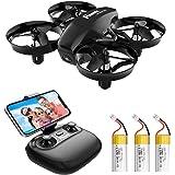 Potensic Mini Drohne A20W mit Kamera 3 Akkus RC Quadrocopter Drohne 2.4Ghz FPV Live Übertragung Ferngesteuerte Drohne Spielze