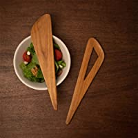 "Ellementry Teak Salad Spoon, 10"" X 2.25"" X 0.25"", Set of 2, Brown"