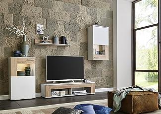 BMG Möbel Wohnwand Schrankwand Wohnzimmerschrank Mediawand Anbauwand  TV Element TAMPA In Weiß Matt/Sonoma