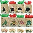 Viccess 16 pezzi Sacchetti di Natale con Maniglia Sacchetti Regalo di Natale Sacchetti Regalo Carta Kraft per Feste di Natale,Compleanno, tea Party,Matrimoni e Feste