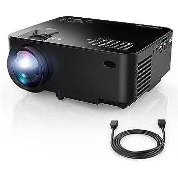 VidéoProjecteur, DBPOWER T20 Mini Projecteur, Projecteur Portable LED Full HD Support 1080P Livré Avec Câble HDMI USB / SD / VGA / AV Projecteur De Cinéma Maison-Noir