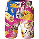 TUONROAD Mens Swim Shorts Funny 3D Print Swimming Trunks Quick Dry Summer Casual Surf Board Beach Shorts with Mesh Lining S-3