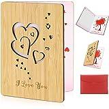 HOWAF Herz Karte Gefertigte Bambuskarte Beschreibbare Jubiläum Grußkarte Liebe Karte geburtstagskarte Valentinstag…