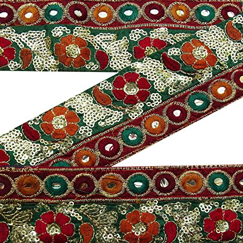 Vintage gestickte kastanienbraune Trim Gebrauchte Sari Border Antique Sewing 1 Yard Ribbon (Ribbon Trim Gestickte)
