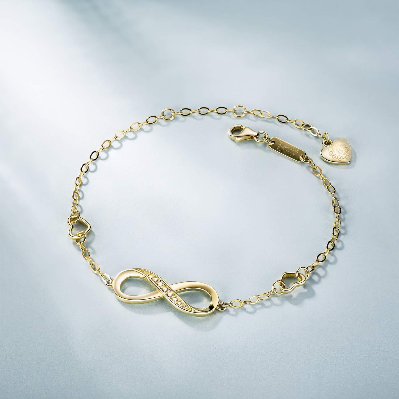 925 Argent fin Bracelet infini Billie Bijoux damour sans fin Symbole Bracelet r/églable avec charme pour Femme la f/ête des m/ères