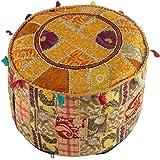 Indiase Vintage OttomIndian Vintage Ottomaanse Poef Cover Hippie Woonkamer Decor Boho Decor Voetkruk Cover, Decoratieve Handg
