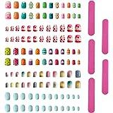 120 stuks kunstnagels voor meisjes en meisjes, om op te drukken + 5 stuks nagelvijl, kunstvingernagels, kunstnagelkit, voor m