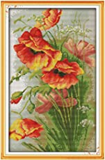 14CT Cross stitch Kit, Poppy Flowers Pattern Embroidery Cross-stitch Painting Home Décor
