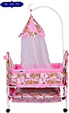 Comfort Store Baby's Crib with Swing and Mosquito Net (Pink, Royal Blue)